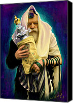 Rabbi Canvas Prints - Lubavitcher Rebbe with torah Canvas Print by Sam Shacked