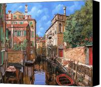Gondola Canvas Prints - Luci A Venezia Canvas Print by Guido Borelli