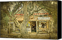 Country Music Canvas Prints - Luckenbach Aged Canvas Print by Scott Norris