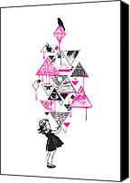 Triangles Digital Art Canvas Prints - Lucy in the sky Canvas Print by Budi Satria Kwan