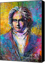 Austin Mixed Media Canvas Prints - Ludwig Van Beethoven portrait Musical Pop Art painting print Canvas Print by Svetlana Novikova