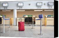 Airport Concourse Canvas Prints - Luggage at an Airline Check-In Counter Canvas Print by Jaak Nilson