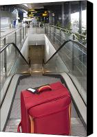 Airport Terminal Canvas Prints - Luggage at the Top of an Escalator Canvas Print by Jaak Nilson
