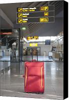 Airport Terminal Canvas Prints - Luggage Sitting Alone in an Airport Terminal Canvas Print by Jaak Nilson