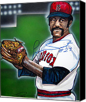 Baseball Painting Canvas Prints - Luis Tiant Canvas Print by Dave Olsen