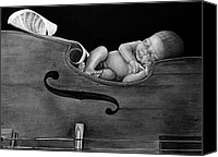 Charcoal Drawings Canvas Prints - Lullaby  Canvas Print by Curtis James