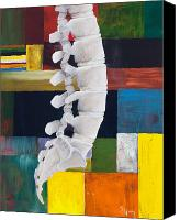 Figurative Canvas Prints - Lumbar Spine Canvas Print by Sara Young