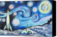 Featured Pastels Canvas Prints - Lunar Starry Night Canvas Print by Jerry Mac
