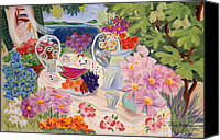 Iron Pastels Canvas Prints - Lunch in the Garden Canvas Print by Tatjana Krizmanic