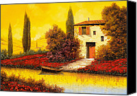 Hot Painting Canvas Prints - Lungo Il Fiume Tra I Papaveri Canvas Print by Guido Borelli
