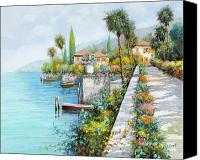 Italy Canvas Prints - Lungolago Canvas Print by Guido Borelli