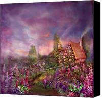 Greeting Card Canvas Prints - Lupine Cottage Canvas Print by Carol Cavalaris