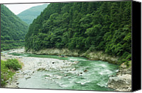 Lush Foliage Canvas Prints - Lush Green Volcanic River Gorge, Kyoto, Japan Canvas Print by Ippei Naoi