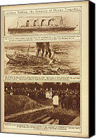 Civilians Canvas Prints - Lusitania Sinking The Greatest Of Ocean Canvas Print by Everett