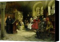 Priest Canvas Prints - Luther Preaches using his Bible Translation while Imprisoned at Wartburg Canvas Print by Hugo Vogel