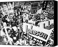 Lyndon Canvas Prints - Lyndon Johnson. Delegates Supporting Us Canvas Print by Everett