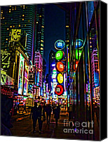 Signs Digital Art Special Promotions - m and m store NYC Canvas Print by Jeff Breiman