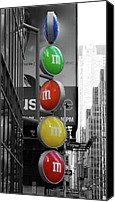 Lights Framed Prints Canvas Prints - M and Ms In New York City Canvas Print by Angie McKenzie
