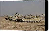 Operation Iraqi Freedom Canvas Prints - M1 Abrams Tanks At Camp Warhorse Canvas Print by Terry Moore