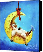Starry Painting Canvas Prints - Maaah in the Moon Canvas Print by Conni Togel