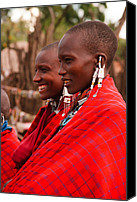 Tribal Canvas Prints - Maasai Women Canvas Print by Adam Romanowicz