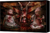 Strange Photo Canvas Prints - Macabre - Dolls - Having a friend for dinner Canvas Print by Mike Savad