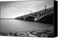 Minute Digital Art Canvas Prints - MacArthur Bridge To Belle Isle Detroit Michigan Canvas Print by Gordon Dean II