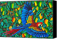 Silk Postcard Tapestries - Textiles Canvas Prints - Macaw in Mango tree Canvas Print by Daniel Jean-Baptiste