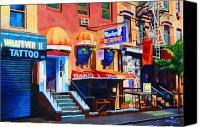 Scene Mixed Media Canvas Prints - MacDougal Street Canvas Print by John Tartaglione