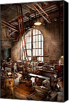 Old Mill Scenes Canvas Prints - Machinist - I like big tools Canvas Print by Mike Savad