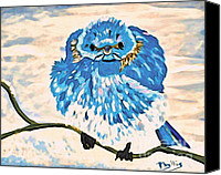 Angry Sky Canvas Prints - Mad Angry Blue Bird Canvas Print by Phyllis Kaltenbach