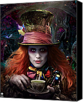 Mad Hatter Canvas Prints - Mad As a Hatter Canvas Print by Omri Koresh