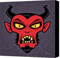 Halloween Digital Art Canvas Prints - Mad Devil Canvas Print by John Schwegel