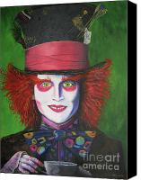 Mad Hatter Canvas Prints - Mad Hatter Johnny D Canvas Print by Charolette A Coulter