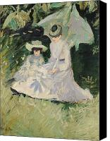Sat Canvas Prints - Madame Helleu and her Daughter at the Chateau of Boudran Canvas Print by Paul Cesar Helleu