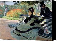 Parcs Canvas Prints - Madame Monet on a Garden Bench Canvas Print by Claude Monet
