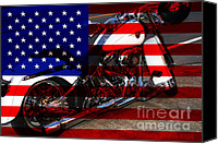 American Flags Canvas Prints - Made In The USA . Harley-Davidson . 7D12757 Canvas Print by Wingsdomain Art and Photography