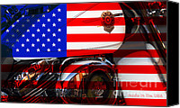 Fourth Of July Photo Canvas Prints - Made In The USA . Harley-Davidson . 7D12759 Canvas Print by Wingsdomain Art and Photography
