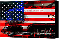 Made In The Usa Digital Art Canvas Prints - Made In The USA . Chevy Corvette Canvas Print by Wingsdomain Art and Photography