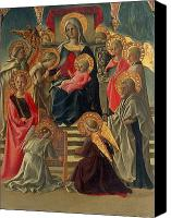 Enthroned Canvas Prints - Madonna and Child enthroned with Angels and Saints Canvas Print by Fra Filippo Lippi