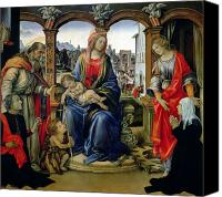Enthroned Canvas Prints - Madonna and Child Canvas Print by Filippino Lippi