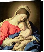 Christmas Painting Canvas Prints - Madonna and Child Canvas Print by Il Sassoferrato