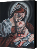 Skull Pastels Canvas Prints - Madonna and Child Canvas Print by Joe Dragt