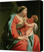 Father Christmas Canvas Prints - Madonna and Child Canvas Print by Simon Vouet