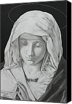 Miguel Rodriguez Canvas Prints - Madonna at Prayer Canvas Print by Miguel Rodriguez