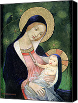 Family Canvas Prints - Madonna of the Fir Tree Canvas Print by Marianne Stokes
