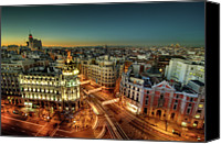 Long Canvas Prints - Madrid Cityscape Canvas Print by Photo by cuellar