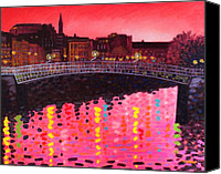 Violet Prints Canvas Prints - Magenta Evening Dublin Canvas Print by John  Nolan