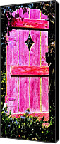 Black Sculpture Canvas Prints - Magenta Painted Door in Garden  Canvas Print by Asha Carolyn Young and Daniel Furon