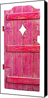 Object Sculpture Canvas Prints - Magenta Pink Painted Garden Door Canvas Print by Asha Carolyn Young